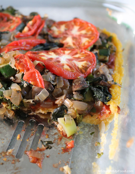 Polenta Pizza: Vegan, salt- and oil-free. Now you can have your pizza and feel good, too! (StraightUpFood.com)