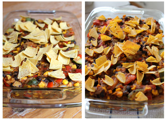 Before and after baking Enchilada Casserole