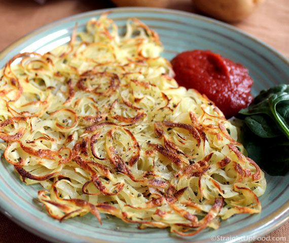 Oil Free Hash Browns With Ketchup