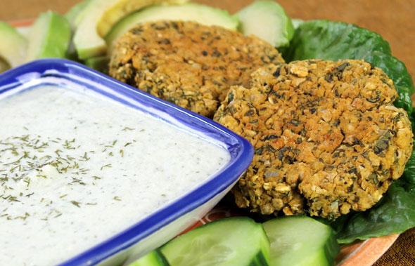 Baked Falafel with Tzatziki Sauce