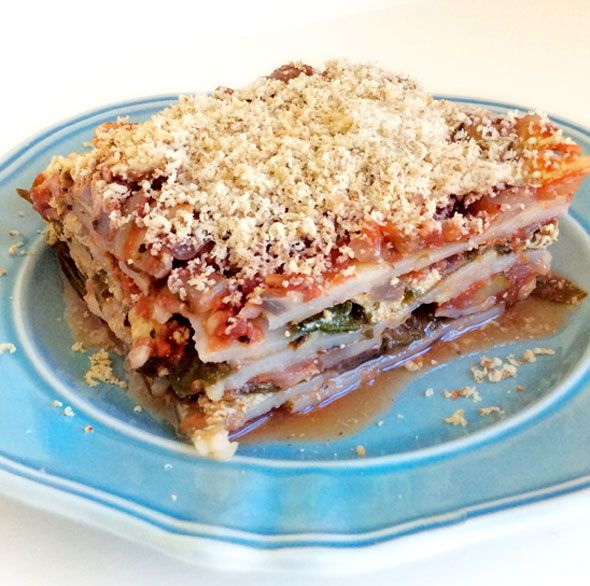 Lasagna made with potato slices instead of pasta noodles